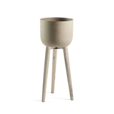 LAFORMA Stahl urtepotteskjuler - rustbrun/natur cement/akactræ, rund (Ø36)